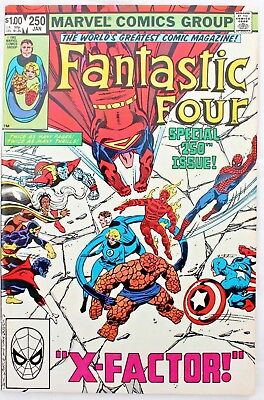 Fantastic Four 250 a vfn 1983 Bronze Age $1 Giant Marvel Comic ft  X-FACTOR