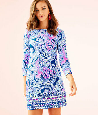 ed2fbd320b99a0 Nwt Lilly Pulitzer Upf 50+ Sophie Dress Blue Grotto Legga Sea Engineered M