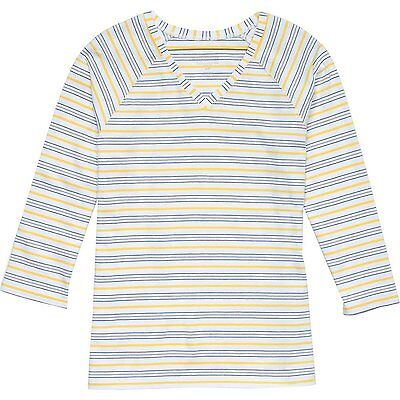 PENDLETON Stripe COTTON STRETCH V Neck T SHIRT Top WHITE Yellow BLUE Women sz SM
