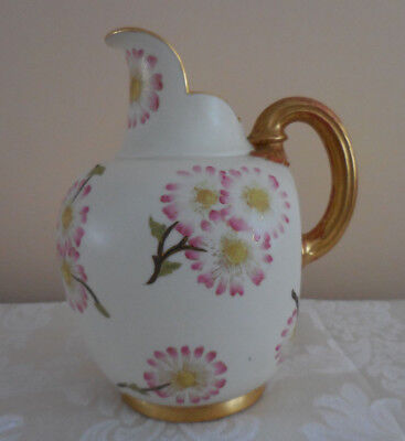 Rare Antique Royal Worcester Hand Painted Fine Porcelain Pitcher 19th Century