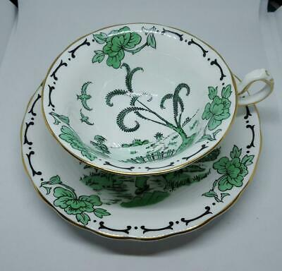 "Handpainted Green ""Pekin"" Royal Chelsea Tea Cup and Saucer Set 420A"