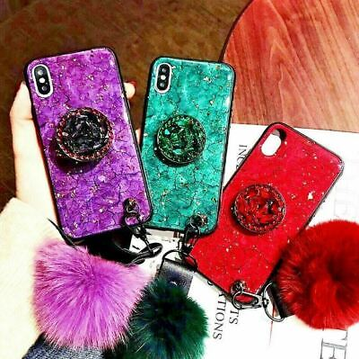 2019 IPhone New Fashion Fiber Soft Fur ball Diamond airbag bracket case
