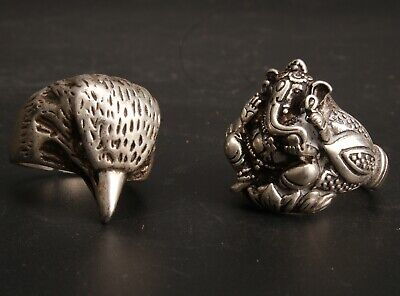 2 Chinese Tibetan Silver Hand Carved Eagle Elephant Ring Jewelry Collection Gift