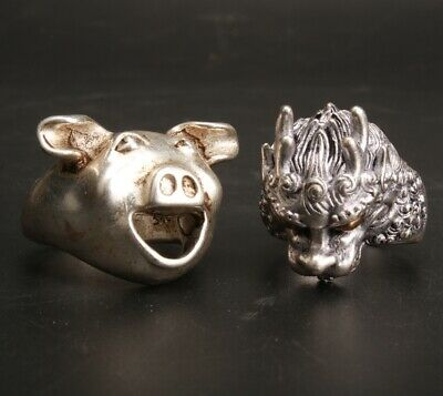 2 Chinese Tibetan Silver Hand Carved Pig Dragon Ring Jewelry Collection Gift