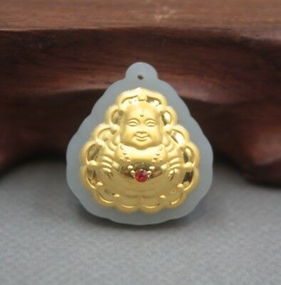 Pure 24k Yellow Gold Natural A Grade Jade Craved Lucky Red Bead Buddha Pendant