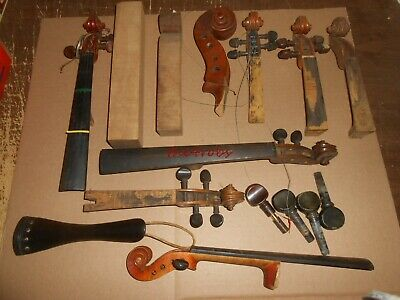 Lot of Vintage Violin Neck Parts Germany Plus Others