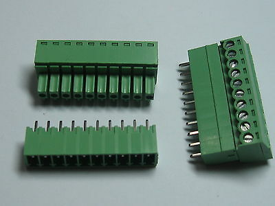 100 Screw Terminal Block Connector 3.5mm 10pin/way Green Pluggable Type Straight