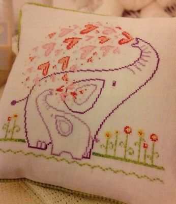 Heart of Mine Mother And Baby Elephants Cross Stitch Complete Kit DMC Thread NEW