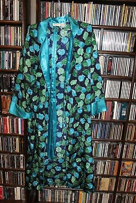 Victoria's Secret blue Turq Grn  Seashell Shell poly satin Vintage Robe S (Gar2)