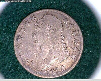 1824  Capped Bust Half Dollar 50c  50 cent piece ( 70s160 )