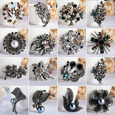 Vintage Women Leaf Tree Flower Breastpin Crystal Pearl Round Brooch Pin Jewelry