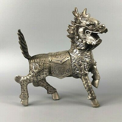 Chinese Rare Collectible Antique Old Tibet Silver Handwork Fire Kylin Statue