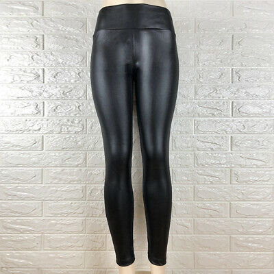 Women Wet Look Butt Lift Pants Pu Leather Skinny Leggings Stretch Sexy Trousers