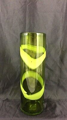 "Large 12 1/2"" Tall Cylinder Vase - Hand Blown Green Glass with Lime Glass Swirl"