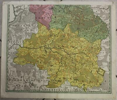 Southern Lithuania 1740 Lotter Unusual Antique Original Copper Engraved Map