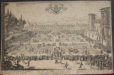 Nancy Ducal Palace France 1625 Callot Unusual Antique Copper Engraved City View
