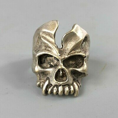 Rare Chinese Collectible Old Tibet Silver Handwork No. 11 Devil Antique Ring