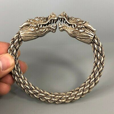 Chinese Collectible Old Tibet Silver Handwork Dragon Head Rare Antique Bracelet