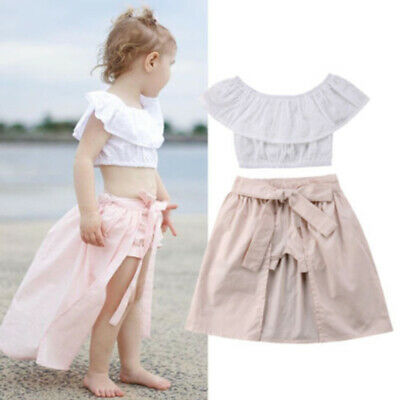 165dbcaffb6ee US CUTE KIDS Baby Girl Summer Flower Crop Tops Shorts Dress 3PCS Outfits  Clothes