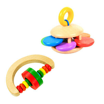 Wooden Baby Rattle Clutching Toy Educational Toy Rattle and Sensory Teether Toy
