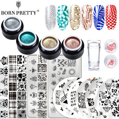 BORN PRETTY Glitter Nail Stamping Gel UV Gel Polish Stamper Stamp Plate Kits DIY