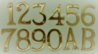 """50mm POLISHED BRASS DOOR NUMBERS 1,2,3,4,5,6,7,8,9,0 + LETTERS A & B, 2"""" HIGH"""