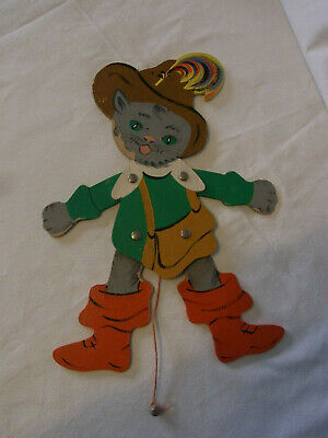 Vintage German Fretwork Folk Art Jumping Jack Puss in Boots #AU