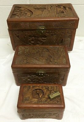 Vtg George Zee Chinese Carved Camphor Wood Graduated Jewelry Chest Box Set +Lock