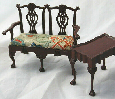 Dollhouse Miniature Artisan Lamb Chippendale Love Seat Table Antique Embroidery