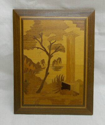 Vintage Wooden Marquetry Inlaid Picture