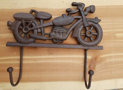 Cast Iron Vintage Motorcycle Wall Hook Coat Hat Jacket Rack Cafe Racer Bobber