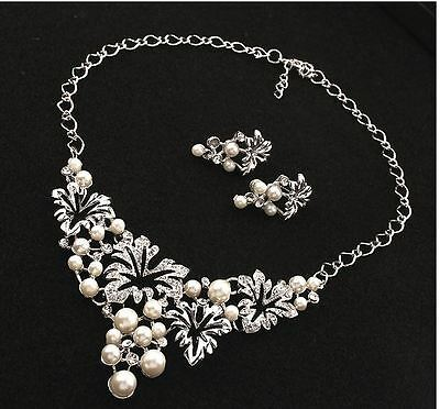 Silver Tone Cream Fuax Pearl Drop Vine  Diamante Crystal Necklace Earring Set