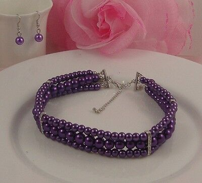 Silver Tone 3 Row Purple Faux Pearl Diamante Crystal Choker/necklace Earring Set