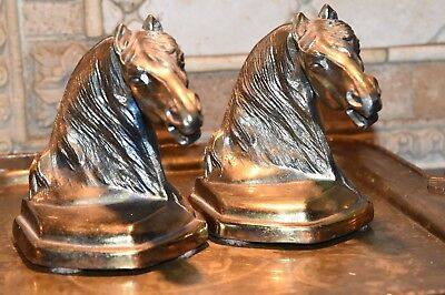 """Heavy Pair Vintage Cast Metal Horse Head Book Ends Brass Plated Figural 6.5""""H"""