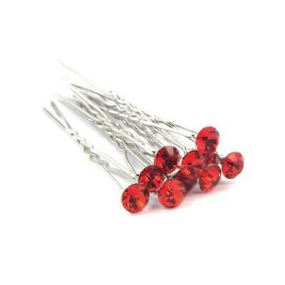 Hair Pins Silver Tone/Red Rhinestone Metal Alloy 7cm 5 Pcs Findings Jewellery