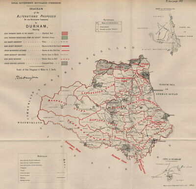 Alterations Proposed in County Durham. JONES. BOUNDARY COMMISSION 1888 old map