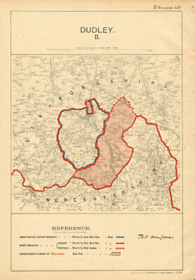 Dudley. JONES. PARLIAMENTARY BOUNDARY COMMISSION 1888 old antique map chart