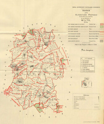 Alterations Proposed in Wiltshire. JONES. BOUNDARY COMMISSION 1888 old map