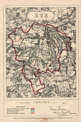 Eye, Suffolk. JAMES. PARLIAMENTARY BOUNDARY COMMISSION 1868 old antique map