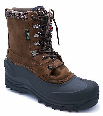 Mens Brown Thermal Waterproof Warm Winter Snow Boots Shoes Sizes 11-13