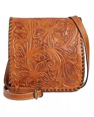 NWT NEW Patricia Nash Leather Granada Crossbody Gold Burnished Tooled Bag $149