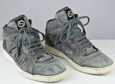 0acbab95ac8 Gucci Men s Suede High Top Fashion Sneakers 295322 Gray 7.5 EU   8.5 US