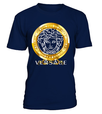 New Versace2019 Famous Gold Logo Luxury T-Shirt Many Color USA Full Size