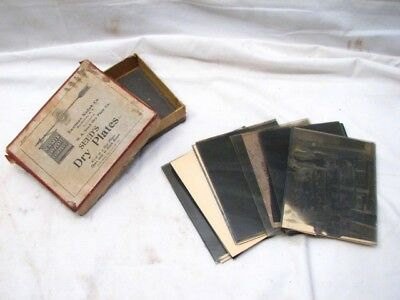 Antique Glass Dry Plate Photos Photographs w/Box Store Fishing Children Negative