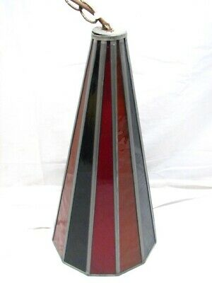 Antique Leaded Stained Glass Hanging Lamp Chandelier Ceiling Light Cone