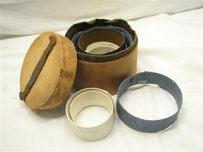 Antique Paperboard Dresser Collar Box Leather Handle Blue/White Shirt