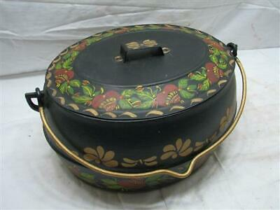 Tole Painted Marietta Co PA 3 Gal Cast Iron Gypsy Kettle Bean Oval Pot Tin Lid