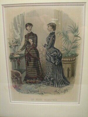La Mode Illustree Bureaux Journal Paris Framed Colored Fashion Print Victorian B