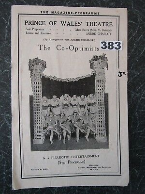 PRINCE OF WALES (London).THE CO-OPTIMISTS, Stanley Holloway, Betty Chester c1922