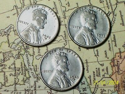 """1943  @  """"STEEl""""  Lincoln Pennys"""